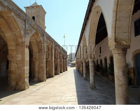 Colonnade of the old Greek monastery at Larnaca, Cyprus