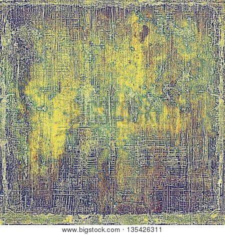 Oldest vintage background in grunge style. Ancient texture with different color patterns: yellow (beige); brown; green; gray; purple (violet)