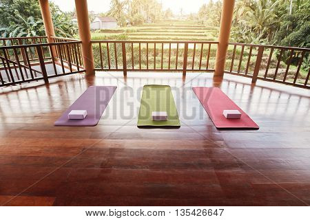 Empty Yoga Studio With Colorful Mat