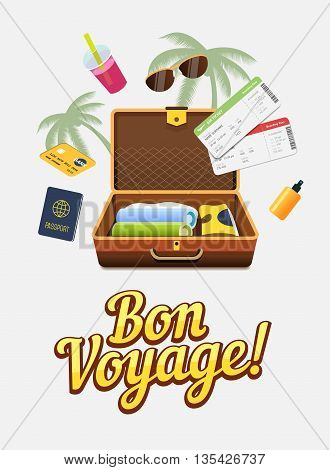 Vaction trip to other countries. Travel to world. Flight trip. Tourism. Colorful vector banner. Open suitcase with clothes. Passport and flight tickets. Travelling illustration. Flat design
