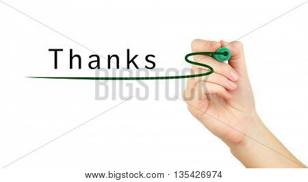 Human hand writing Thanks at transparent whiteboard