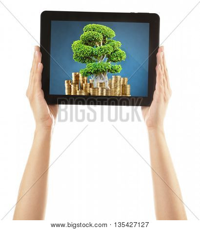 Green tree in bag with a dollar sign in screen of tablet isolated on white
