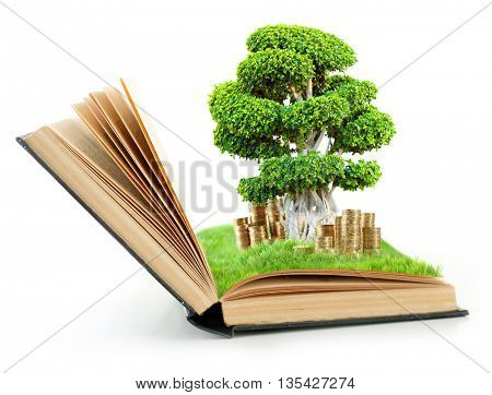 Book with green tree in bag and coins isolated on white