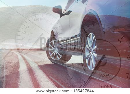 Speedometer on transparent car background