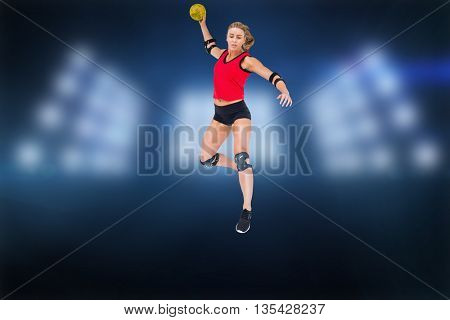 Female athlete with elbow pad throwing handball against composite image of spotlight