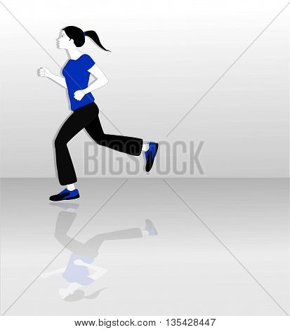 vector illustration of woman running on gradient