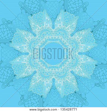 Card with blue circular ornament. Lace doily. Pattern for the greeting card or invitation template frame design for card vector illustration