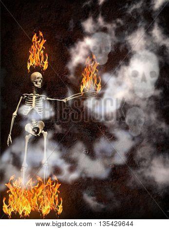 flaming skeleton with smoke skulls 3D Render