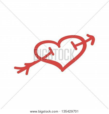 Pierced Heart Isolated Icon Hand Drawn Artwork Vector