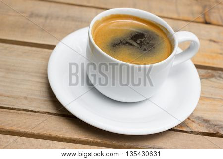 Cup Of Hot Coffee , Black Coffee With Foam.
