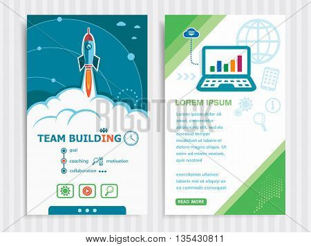Project Team Building Template And Set Of Banners.