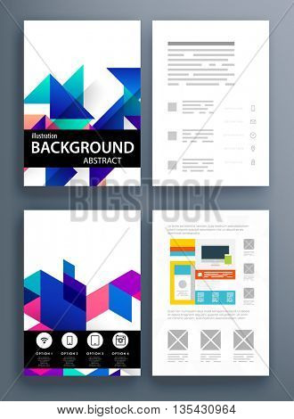 Geometric Cover Background, Brochure Template Layout for Annual Report or Magazine Design. A4 Booklet. Triangular or Polygonal Structures. Vector Illustration.