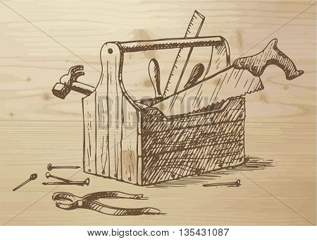 Hand drawn toolbox with different tools - nails hammer saw ruler box plier. Tools on a wooden background. Vector illustration on wooden background.
