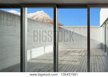 Architecture modern design, veranda view from interior
