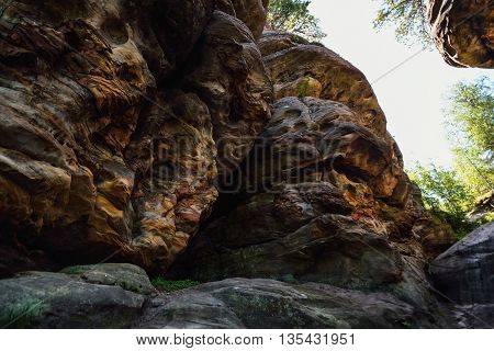 Big rock with intresting texture and colors, Ural, Stone City