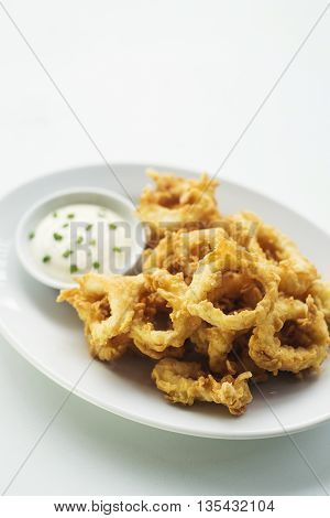 calamares calamari fired battered squid rings seafood snack with aioli sauce