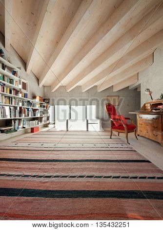 Interior of a modern loft, room with bookcase. concrete walls
