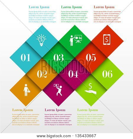 Infographic square template with 4 options, steps. Business concept with icons and text. Can be used for workflow layout, diagram,  web design