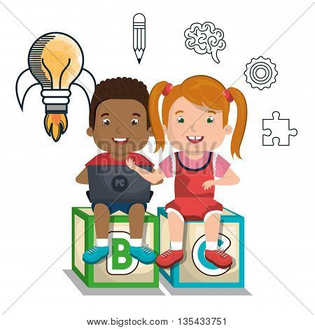 boy and girl  studying online isolated icon design, vector illustration  graphic