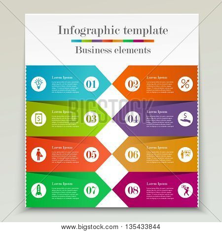 Abstract banner infographic template. Business elements. Concept with 8 options, processes or steps. Brochure design
