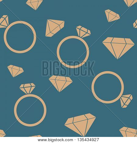 Rings diamonds seamless pattern. Vector illustration. Jewelry seamless design.