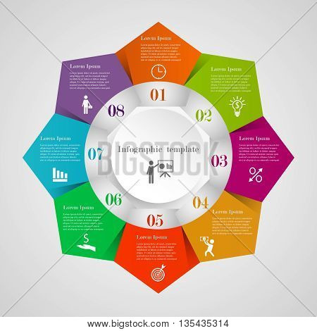 Infographic circle pentagon flowchart template with 8 options, icons and text. Can be used for workflow layout, banner, chart, web design. Business elements