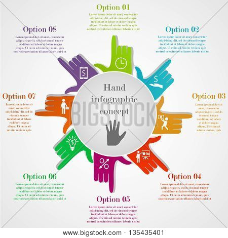 Hand-style infographic concept. Business circle template with colorful pointing hands. Business elements with 8 options or steps with icons and text for your purposes