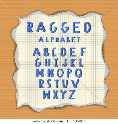 Ragged paper alphabet. Torn latin letters on lacerated piece of paper. Wood background