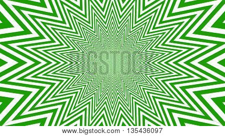 Green and white hypnotic shape with optical effect