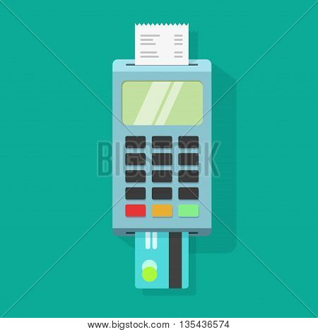 Pos terminal illustration, pos machine payment transaction concept with receipt and credit card, isolated on colorful background