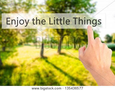 Enjoy The Little Things - Hand Pressing A Button On Blurred Background Concept On Visual Screen.