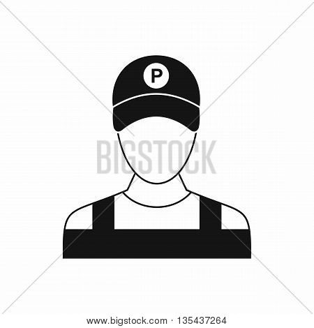 Parking attendant icon in simple style isolated on white background