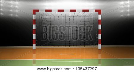 Composite image of a handball goal in a sports hall