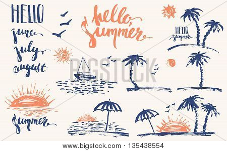 Hand drawn summer design elements in navy blue and orange. Summer prints palm silhouettes sun sunset ocean sailboat hello. Brush letterinf june july august.