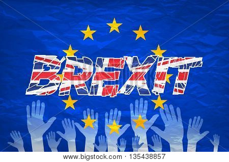 Brexit Text Isolated Art Vector Colorfull Hand
