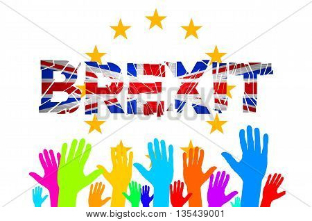 Brexit Text Isolated Art Vector Hand. Flag Of The European Community Of The United Kingdom Vector