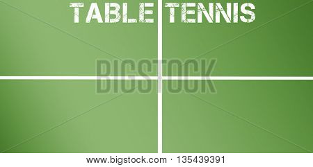 Table tennis message on a white background against overhead view of ping pong table