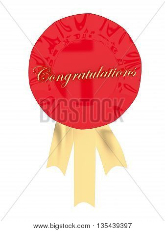 3D Ribbon Badge With Congratulation Text Displayed Concept
