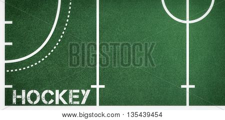 Hockey message on a white background against sport field plan