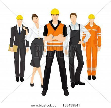 Group of people in uniform. Set of building team isolated on white background. Builder manager or engineer, worker in protective wear and helmet, secretary with phone in her hand.