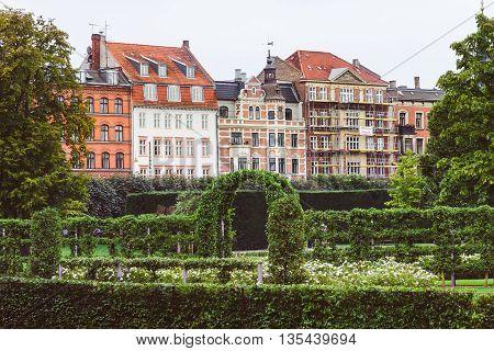 Green Garden And Danish Houses In Copenhagen