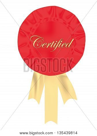 3D Ribbon Badge With Certified Text Displayed Concept