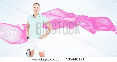 Composite image of badminton player is posing and smiling against design background
