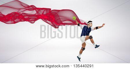 Sportsman throwing a ball against blue design
