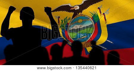 Silhouettes of football supporters against digitally generated ecuador national flag