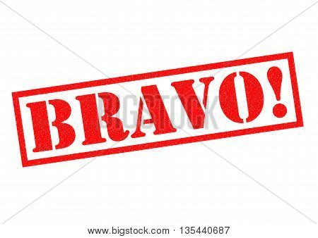 BRAVO! red Rubber Stamp over a white background.