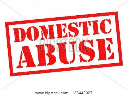 DOMESTIC ABUSE red Rubber Stamp over a white background.