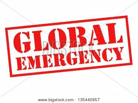 GLOBAL EMERGENCY red Rubber Stamp over a white background.
