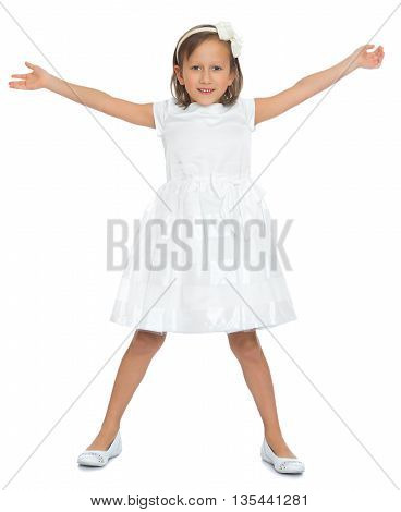 Beautiful little girl in a white dress with a big bow on head , widely placed hands in the parties- Isolated on white background