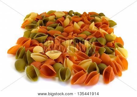 Raw Shells Macaroni Various Color On White Background